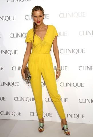 How to wear: yellow jumpsuit, mint leather heeled sandals, gold sequin clutch