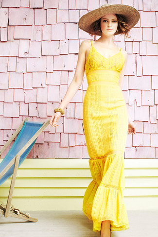 How to wear: yellow lace maxi dress, khaki straw hat