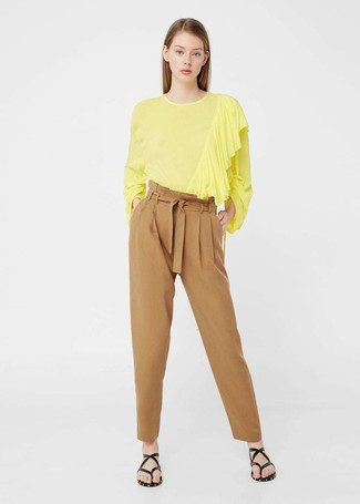 How to wear: yellow long sleeve blouse, tan tapered pants, black leather thong sandals