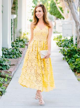 How to wear: yellow crochet midi dress, beige leather gladiator sandals, white crochet clutch, gold bracelet