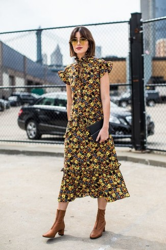 How to wear: yellow floral midi dress, brown leather ankle boots, black leather clutch, yellow sunglasses