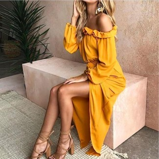 How to wear: yellow off shoulder dress, tan leather heeled sandals, gold earrings