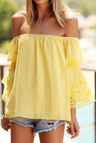 f83affc32c26f2 How to Wear a Yellow Off Shoulder Top (7 looks   outfits)