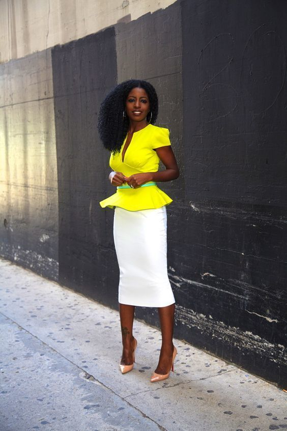 5e87f80faa9c How to wear: yellow peplum top, white pencil skirt, orange leather pumps,