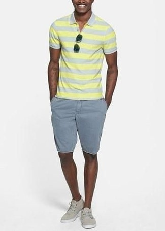 How to wear: yellow horizontal striped polo, grey shorts, beige canvas low top sneakers, black sunglasses