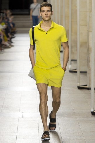 To create an outfit for lunch with friends at the weekend make a yellow polo and yellow shorts your outfit choice. Black leather sandals are the right shoes here to get you noticed.