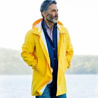 detailed images buy real 60% cheap Men's Yellow Raincoat, Blue Quilted Shirt Jacket, White and ...