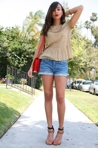 How to wear: yellow print short sleeve blouse, blue denim shorts, tan leather heeled sandals, red leather crossbody bag