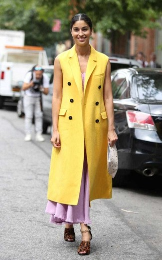 How to wear: yellow sleeveless coat, pink maxi dress, dark brown leopard leather heeled sandals