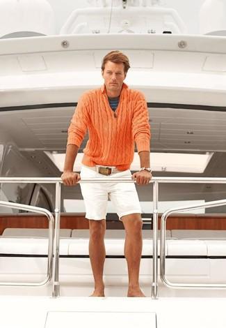 Men's Orange Zip Neck Sweater, Navy Horizontal Striped Crew-neck T-shirt, White Shorts, Beige Canvas Belt
