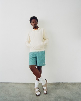 Shorts Outfits For Men: If you love casual style, why not pair a beige zip neck sweater with shorts? Why not take a more laid-back approach with shoes and complete your look with a pair of beige suede sandals?