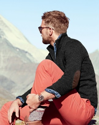 How to wear: charcoal zip neck sweater, blue polka dot denim shirt, pink chinos, brown leather work boots