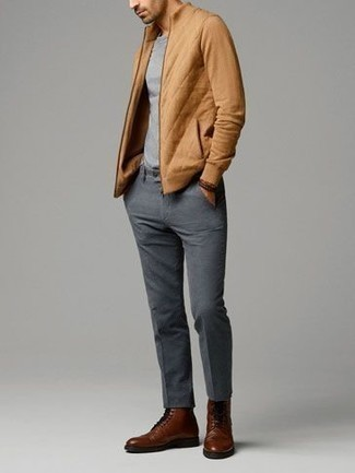 How to Wear Grey Chinos: If you like off-duty combinations, then you'll love this pairing of a tan zip sweater and grey chinos. Feeling transgressive today? Smarten up this ensemble with brown leather casual boots.