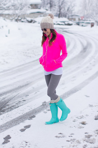 How to wear: hot pink zip sweater, white crew-neck t-shirt, grey leggings, aquamarine rain boots