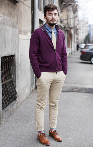 How to wear: dark purple zip sweater, blue chambray dress shirt, beige chinos, brown leather brogues