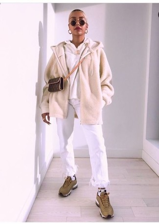 How to wear: beige zip sweater, white hoodie, white fringe jeans, olive athletic shoes