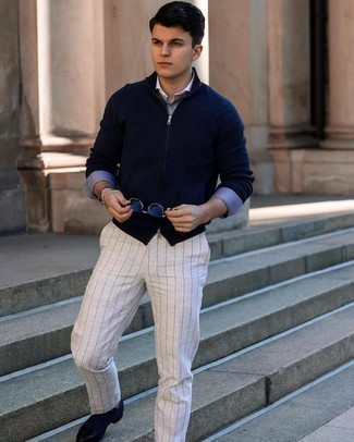 Grey Vertical Striped Chinos Outfits: For an ensemble that's super simple but can be worn in a multitude of different ways, choose a navy zip sweater and grey vertical striped chinos. To bring an extra dimension to your outfit, complement your ensemble with navy canvas derby shoes.
