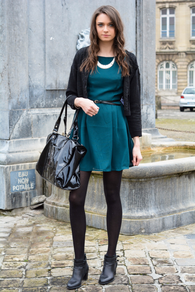bdc5a9e0f4838 How to wear: black zip sweater, teal skater dress, black leather ankle boots