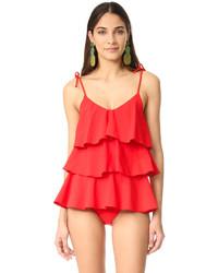 Maillot de bain une pièce à volants rouge Lisa Marie Fernandez