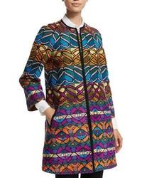 Manteau à rayures horizontales multicolore Etro