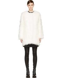 Manteau de fourrure blanc Helmut Lang
