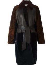 Manteau de fourrure brun foncé Lanvin