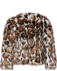 Manteau de fourrure imprimé léopard brun foncé Moschino