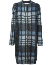 Manteau écossais bleu marine Tory Burch