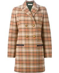 Manteau écossais brun clair Tory Burch