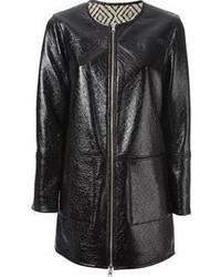 Manteau en cuir noir Tory Burch
