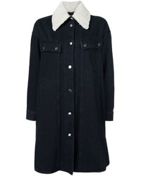 Manteau en denim bleu marine MM6 MAISON MARGIELA