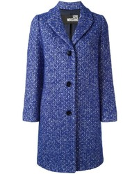 Manteau en tweed bleu Love Moschino