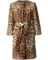 Manteau imprimé léopard brun Dolce & Gabbana