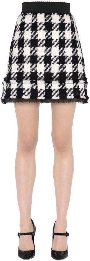 Minifalda a cuadros en blanco y negro de Dolce & Gabbana