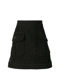 Minifalda con print de flores negra de Chloé