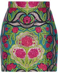 Minifalda con print de flores verde oliva de Gucci