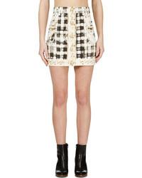 Minifalda de Cuadro Vichy Blanca y Negra de Balmain