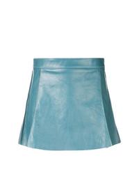 Minifalda de cuero celeste de Chloé
