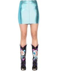 Minifalda de cuero celeste de Jeremy Scott