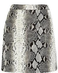 Minifalda de cuero con print de serpiente gris
