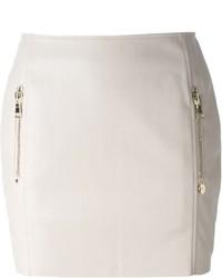 Minifalda de cuero en beige