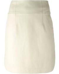 Minifalda de cuero en beige de Jil Sander Navy