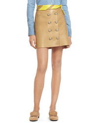 Minifalda de cuero marrón claro de Gucci