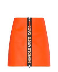 Minifalda de cuero naranja