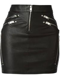 Minifalda de cuero negra de Diesel
