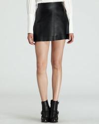 Minifalda de cuero negra de Rachel Zoe