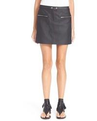 Minifalda de cuero negra de Rag & Bone