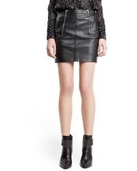Minifalda de Cuero Negra de Saint Laurent
