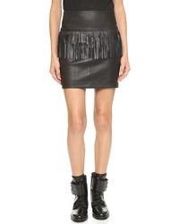 Minifalda de cuero сon flecos negra de IRO