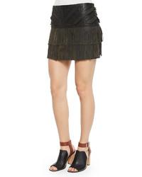 Minifalda de cuero сon flecos negra de Parker